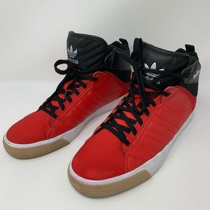 Red Adidas High Top Basketball Sneakers